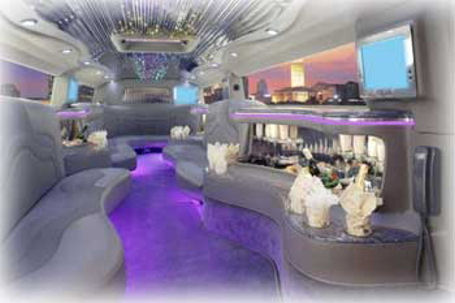 Chauffeur stretched Hummer H2 limousine hire interior in Glasgow, Edinburgh, Aberdeen, Dundee, Scotland