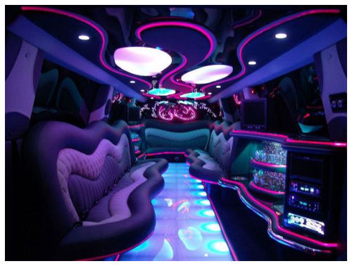 Chauffeur stretch Range Rover limo hire interior in UK