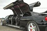 Chauffer stretched black Ferrari F1 360 limo hire in the UK with jet doors.