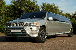 Chauffeur stretched silver BMW X5 limousine hire in Birmingham, Dudley, Wolverhampton, Walsall, Midlands.
